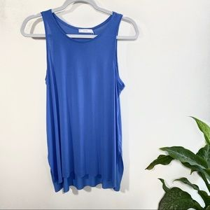 Lush butter-soft blue flowy raw hemline tank top